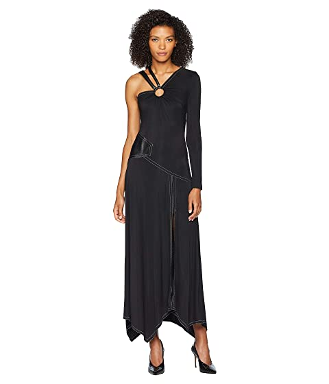 YIGAL AZROUËL Patchwork Gown w/ Leather Strap