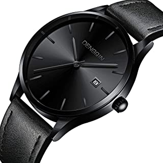 Men's Wrist Watch - Leather Classic Watches - Quartz Business Stainless Steel Analog Ultrathin Watch for Gentlemen