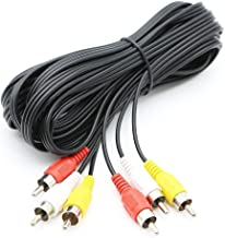 Pasow 3 RCA Cable Audio Video Composite Male to Male DVD Cable (15 Feet)
