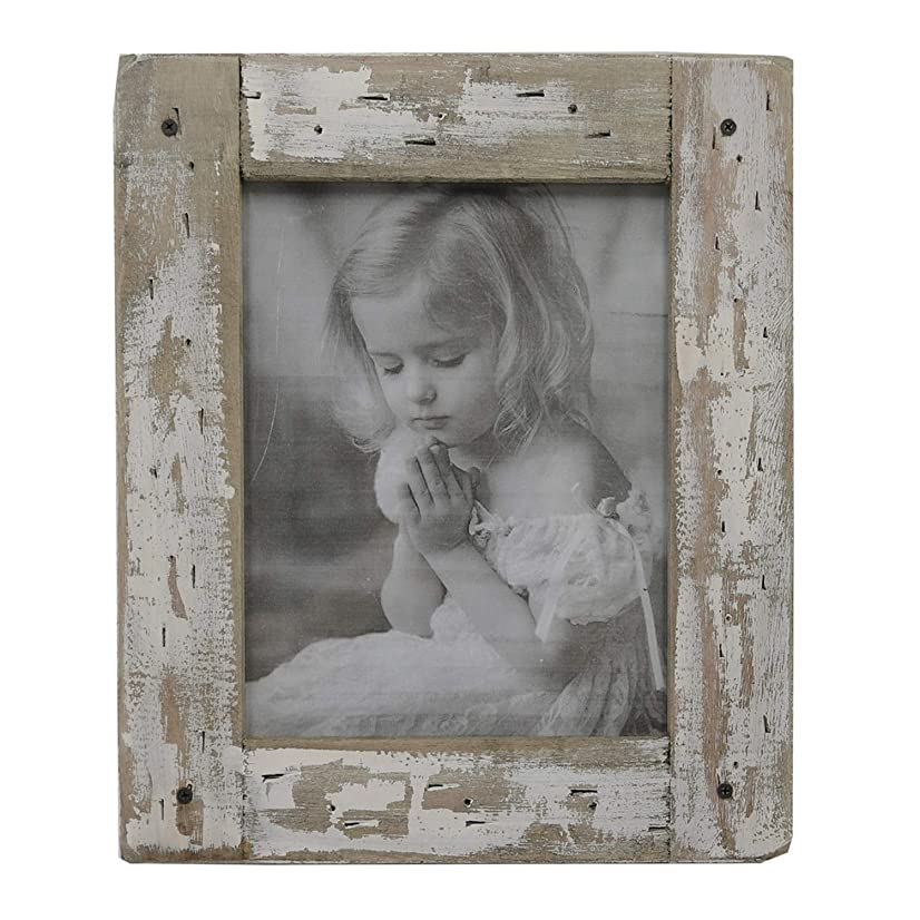kuip Design 5x7 Picture Frame Rustic Distressed Weathered Reclaimed Wood Cream Stand with Easel Back Horizontally or Vertically on The Tabletop Decor
