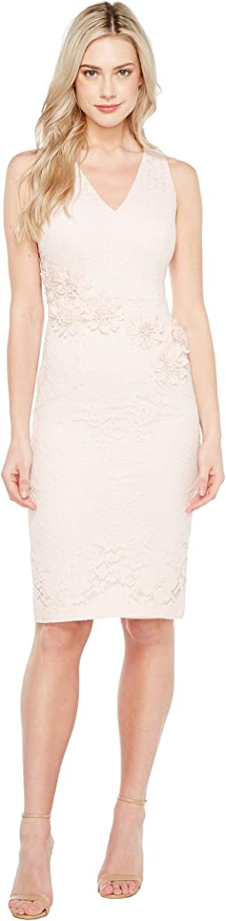 Rose Garden Lace V-Neck Sheathe Dress
