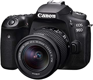 Canon 90DKIS Digital Camera - SLR Canon EOS 90D DSLR with EFS 18-55mm f/4-5.6mm STM Lens, Black (90DKIS)