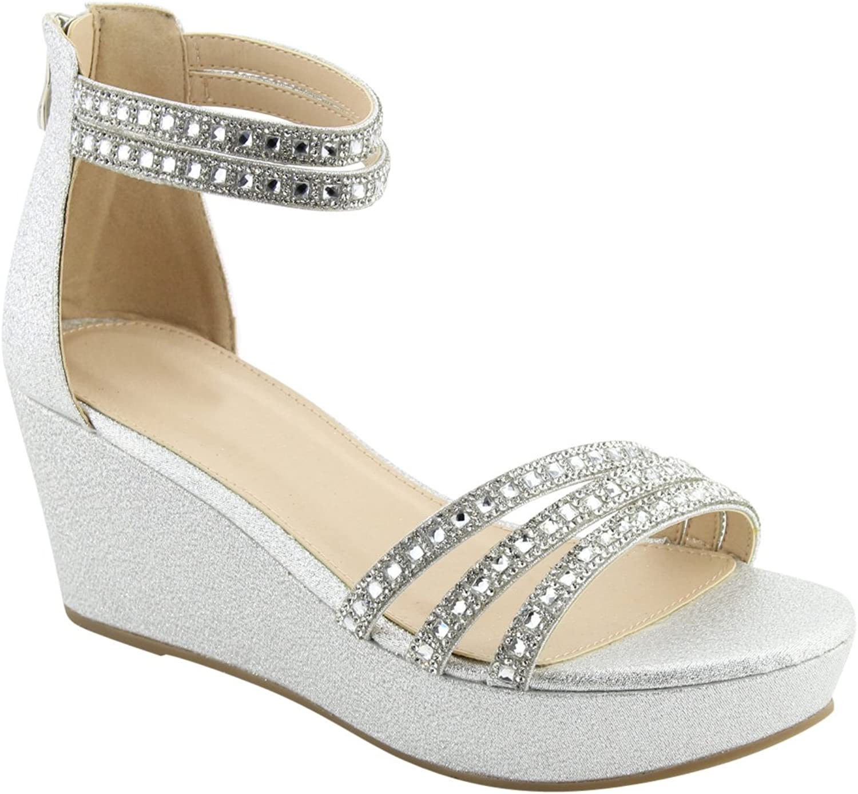 BESTON FQ91 Women's Glitter Ankle Strap Wrapped Heel Wedge Dress Sandal