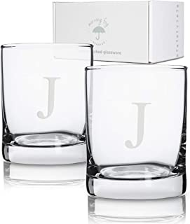 Personalized Scotch Whiskey Glasses Set of 2, Old Fashioned Barware Glassware with Sandblasted Monograms, 12.5 oz Capacity Each (J)