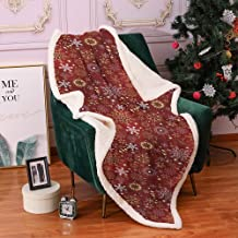 QIAOQIAOLO Christmas Blanket,Bed Blanket Christmas Ornate Snowflakes with Floral Artistic Swirls and Vivid Hearts Pattern Lamb Velvet,(60 x 47 inch) Gold White and Red