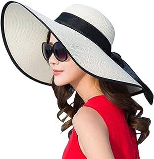 DRESHOW Women's Sleep Beach Hat for Women Large Brim Straw Sun Hats Roll Up Packable UPF 50+