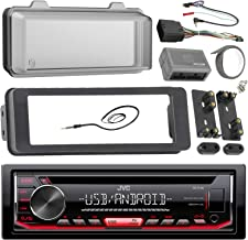 JVC Stereo CD Receiver Marine Radio Bundle, 1998 2013 Harley Davidson Touring Flht Flhx Flhtc, Adapter Dash Kit, Handle Bar Control Module, Weathershield Cover, Enrock Wire Antenna