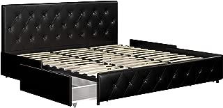 DHP Dakota Upholstered Platform Bed with Storage Drawers, Black Faux Leather, King