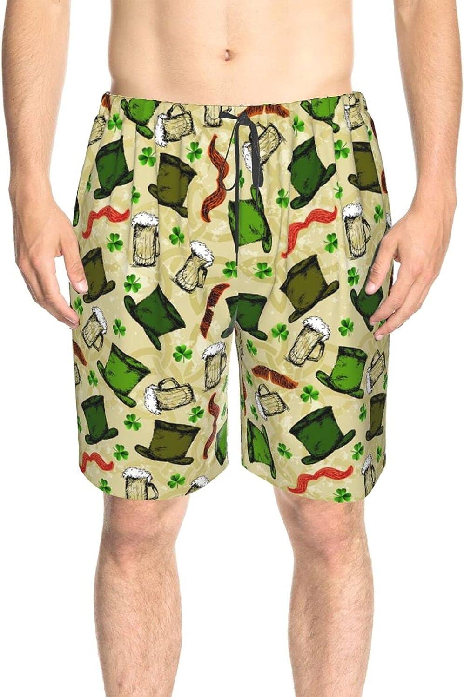 JINJUELS Men's Swim Shorts Happy Saint Patricks Day Beach Board Shorts Fast Dry Fashion Summer Beach Shorts with Pockets