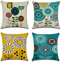 BoomTeck Decorative Farmhouse Throw Pillow Covers for Couch Sofa 18 x 18 Inch Set of 4 Blue Yellow Sunflower Floral Abstract Linen Soft Solid Square Cushion Cover Cases Home Decor Flowers Pillowcase