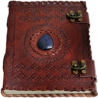 "8"" Leather Journal with Clasp Stone Writing Pad Blank Notebook Handmade Notepad for Men & Women Unlined Paper Best Present..."