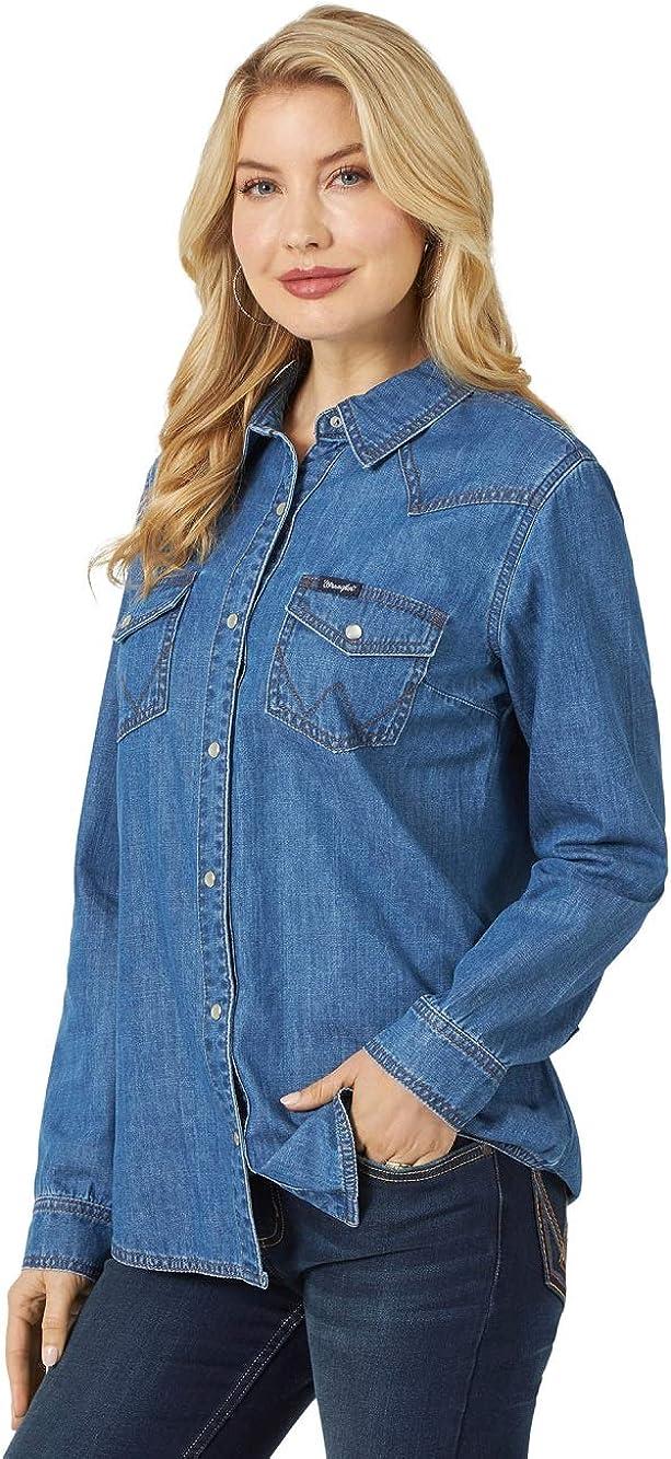 Wrangler Western Long Sleeve Denim Snap Shirt Camisa para Mujer