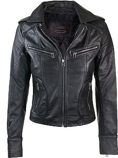 38946e8a97 Infinity Veste véritable Cuir Femme Style Biker Motard Coupe cintrée Courte  Perfecto
