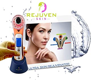 Rejuven Skin 5-in-1 Anti aging facial toning device combining Galvanic, Light therapy, Wave and Microvibration to reverse aging, tighten skin. reduce fine lines and wrinkles