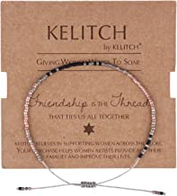 KELITCH Thin Rope Friendship Bracelet Handmade Japanese Seed Bead Adjustable String Bracelets for Women Girls