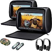 XTRONS Pair Car Headrest DVD Player, 9 Inch Screen Dual Vehicle Headrest Monitor Supports Slot-Load DVD Audios Videos, Gam...