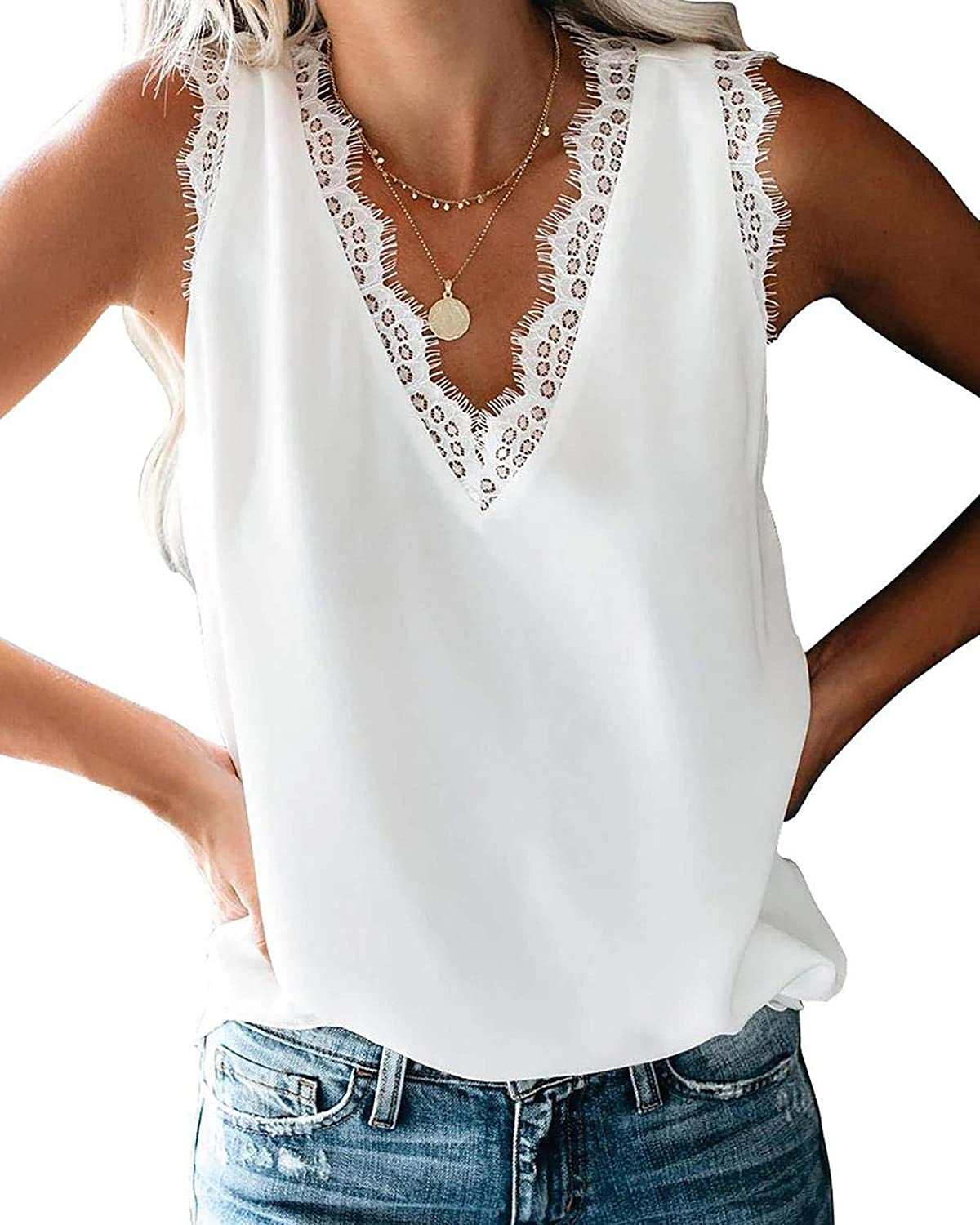 Lace Cami Tank Women Sleeveless Sexy Vest Top Plus Size Camisole Loose Shirt Strappy Blouse
