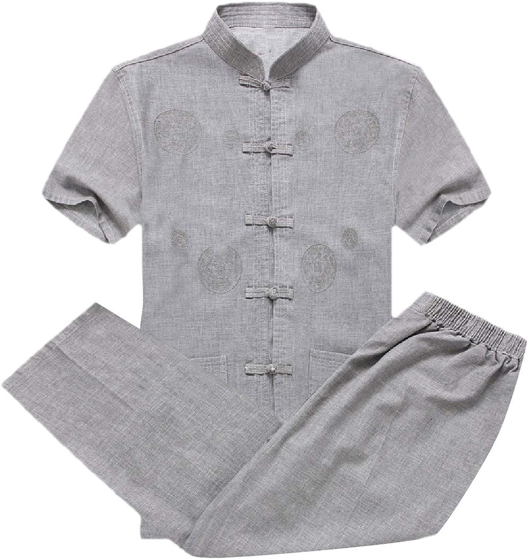 Spodat Mens Tang Suit RelaxedFit Sport Short Sleeve 2Piece Tracksuit