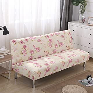 Redsun Armless Sofa slipcover Stretch, Printed Floral Sofa Cover Futon Sofa Bed Cover Elastic Folding Couch Sofa Shield -A L