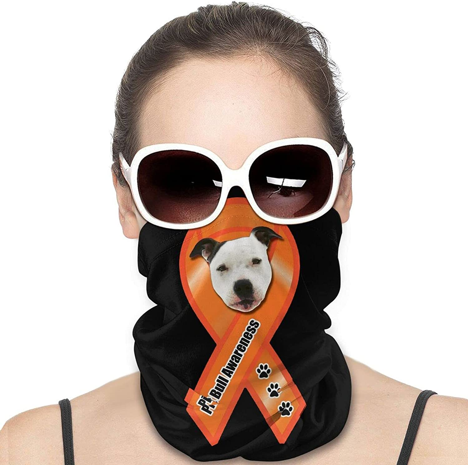 Pit Bull Awareness Ribbon Magnet Round Neck Gaiter Bandnas Face Cover Uv Protection Prevent bask in Ice Scarf Headbands Perfect for Motorcycle Cycling Running Festival Raves Outdoors