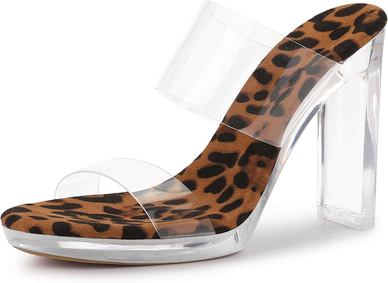 Allegra K Women's Platform Clear Heel Chunky Heels Slide Sandals