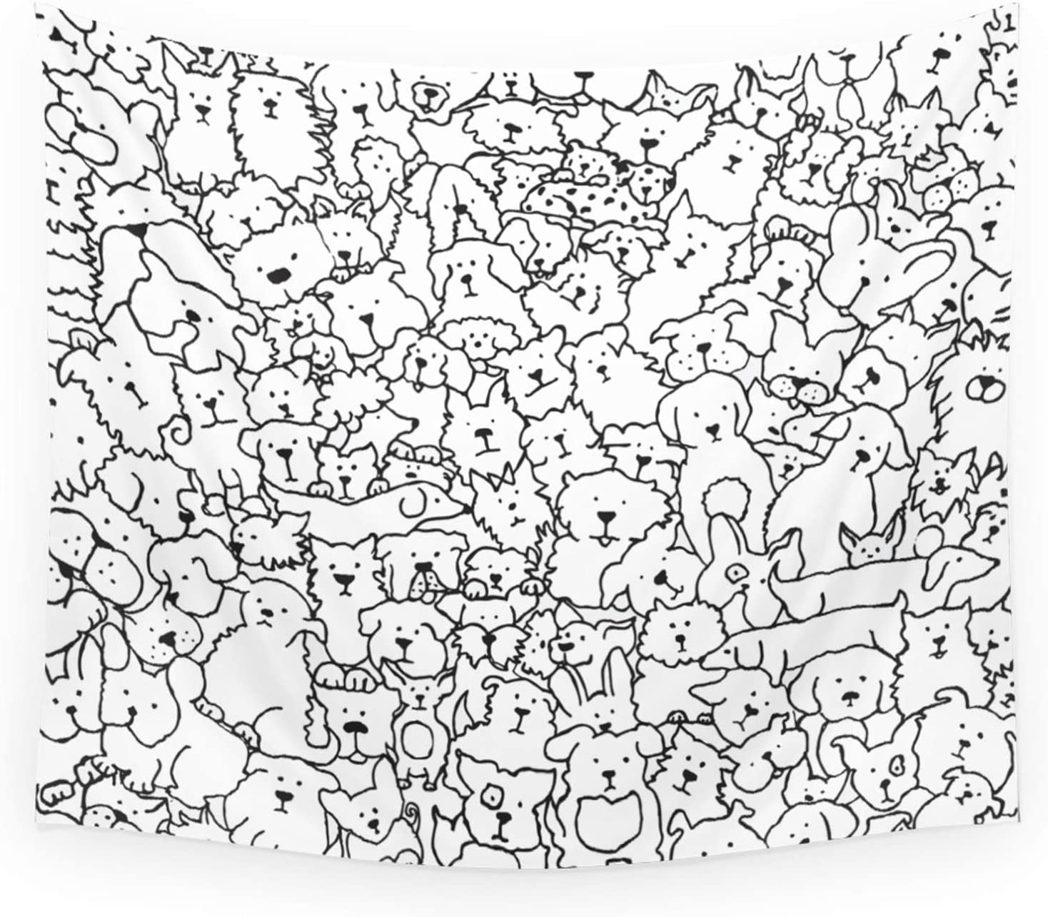 Society6 Dog New sales Doodle Art by Kate cheap + on - Tapestry Hanging Wall Co.
