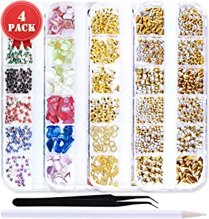 SILPECWEE 4 Boxes Mermaid Pearls Rose Gold Hollow Metal Nail Studs Colorful Nail Rhinestones Nail Charm Manicure Jewelry Kit With 1Pc Tweezers And Picker Pencil