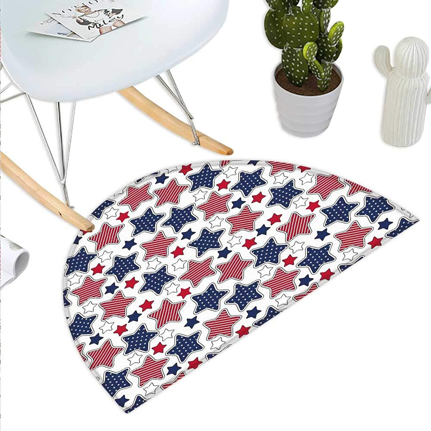USA Semicircle Doormat Big Star Figures with American Flag Featured Inner Lines Proud Country Design Halfmoon doormats H 43.3  xD 64.9  Indigo Red White