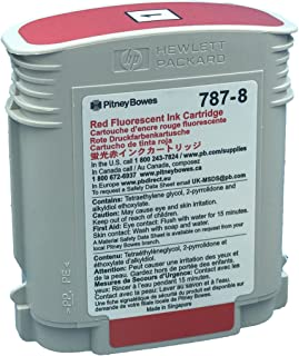 Save On Postage Ink - Genuine Compatible Pitney Bowes Postage Machine Ink- Cartridge for SendPro P/Connect+ Series Mailing Systems- 787-8 Red Fluorescent Ink Cartridge - Postage Meter Cartridge