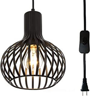 Riomasee Industrial Wire Cage Plug in Pendant Light 14.27 Ft Hanging Light Cord with On/Off Switch,Vintage Black Metal Hanging Lamp