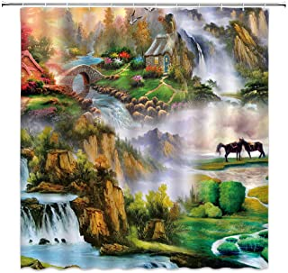 BCNEW Landscape Shower Curtain Horse Forest Flowers Mountain River House Waterfall European Oil Painting Nature Scenery Po...