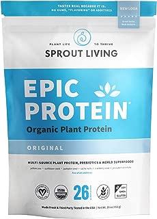 Sprout Living Epic Protein Powder, Original Flavor, Organic Plant Protein, No Additives, Gluten Free, 26 Grams Clean Vegan Protein (1 Pound,13 Servings)