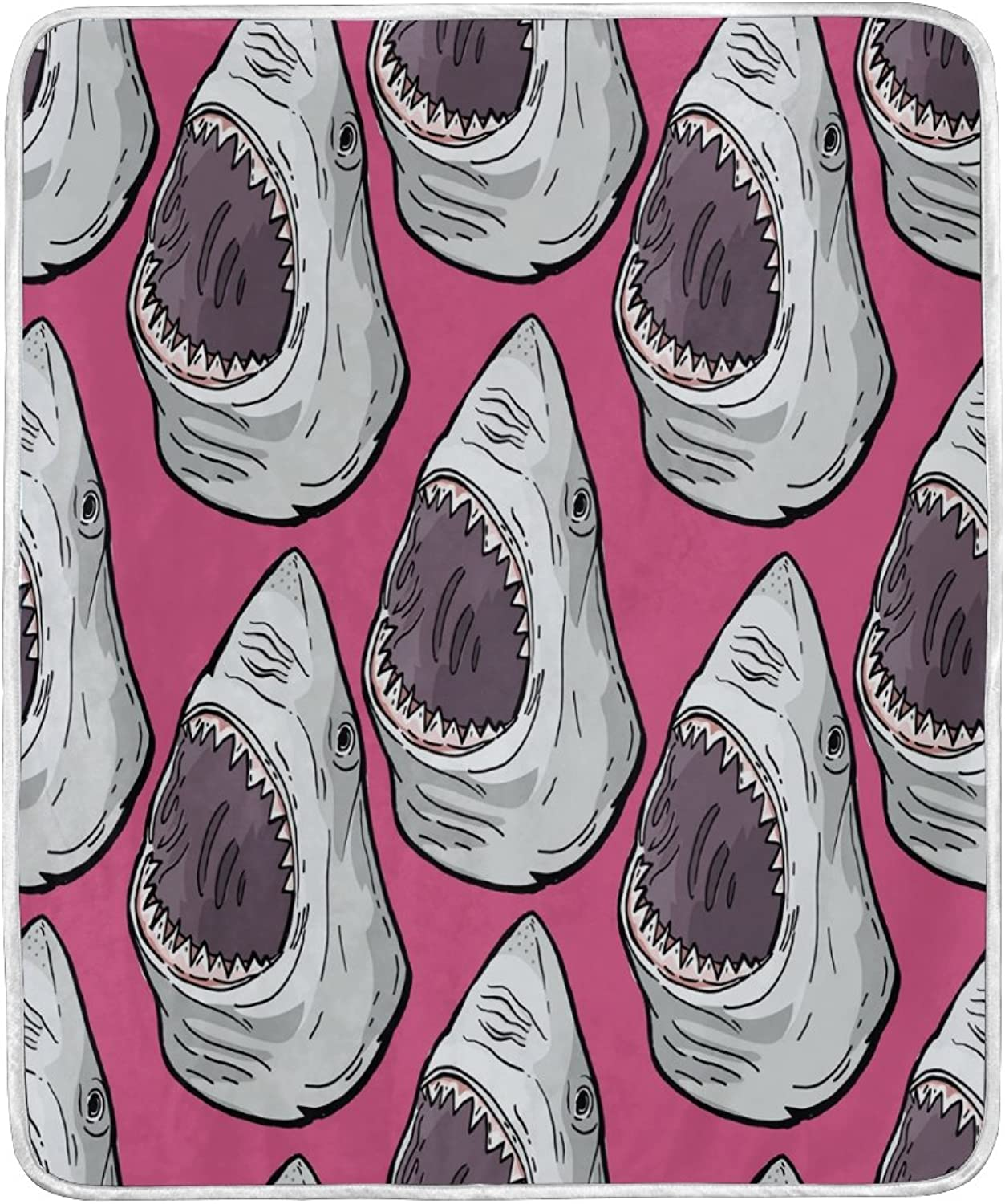 ALAZA Home Decor Cartoon Angry Shark Pink Blanket Soft Warm Blankets for Bed Couch Sofa Lightweight Travelling Camping 60 x 50 inch Throw Size for Kids Boys Women