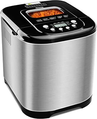 MICHELANGELO Stainless Steel Bread Machine Maker,2.2LB 15-in-1 Automatic Bread Maker Gluten Free, Nonstick Pan and 1 Hour Keep Warm Set, 3 Loaf Sizes, 3 Crust Colors, Recipes Included