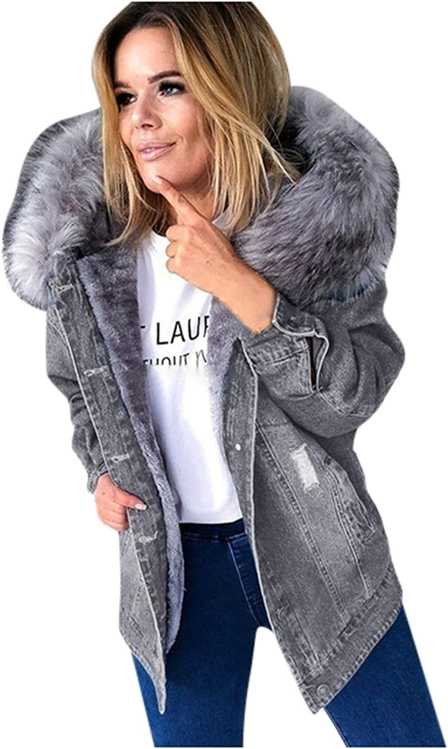 Year-end annual account Women's Add A Long - New Orleans Mall sleeved Faux With Solid Denim Coat Color