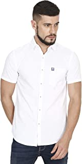 ASIAN & FITCH Men's Casual Slim Fit White Cotton Half Sleeves Shirt (A&F-MN-SD-WHI)