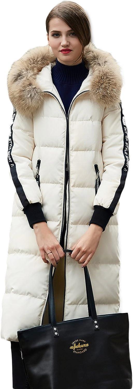 BOSIDENG Women's Winter Down Jacket Straight XLONG Fur Hooded Thick High Street