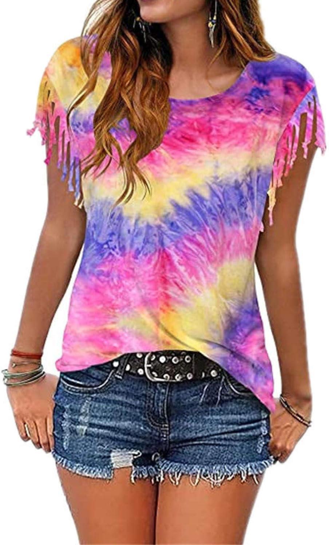 Camiseta de Manga Corta de Verano para Mujer, Estampado de Moda, Cuello Redondo, puños con Flecos, Suelta, Informal, de Manga Corta, Camiseta