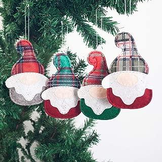 GMOEGEFT Handmade Plaid Scandinavian Christmas Gnome Felt Hanging Ornaments, Swedish Tomte Holiday Home Decorations, Party Favors (Set of 4)