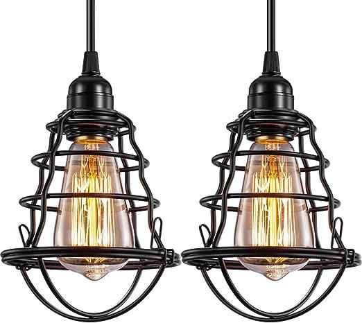 Industrial Pendant Light Innoccy Edison Hanging Cage Pendant Lights E26 E27 Base Vintage Adjustable Pendant Lamp Fixture For Kitchen Home Lighting 2 Pack Amazon Com