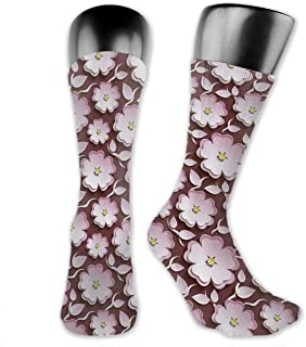 Shadidi Unisex Clip Art Blooming Flowers Knee High Socks Soccer Crew Tube Sock Sports Outdoor