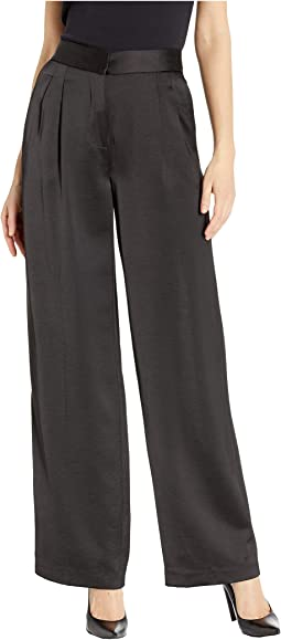 Soft Satin Front Pleat Wide Leg Pants