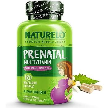 NATURELO Prenatal Multivitamin with DHA, Natural Iron, Folate, Plant Calcium - Vegan, Vegetarian - Non-GMO - Whole Food - Gluten Free - 180 Capsules | 2 Month Supply
