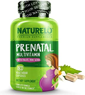 NATURELO Prenatal Multivitamin with DHA, Natural Iron, Folate, Plant Calcium - Vegan, Vegetarian - Non-GMO - Whole Food - ...