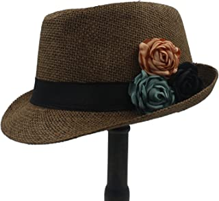XueQing Pan Straw Women Boater Beach Sun hat Panama Fedora Hat With Camellia Flower