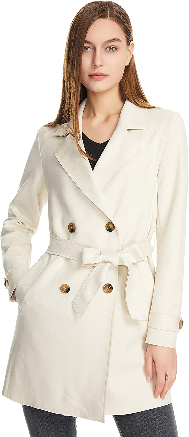 Women Double breasted Albuquerque Mall Trench Coat Mid Length Suede Faux Casual Popularity C