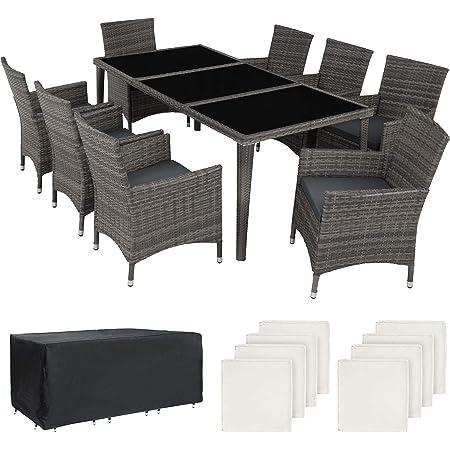 Tectake 403084 Set Di Mobili Da Giardino Alluminio 8 Sedie 1 Tavolo Con Piano In Vero Vetro 2 Set Di Rivestimenti 1 Copertura Protettiva Grigio Amazon It Giardino E Giardinaggio