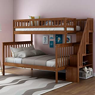 Twin-Over-Full Bunk Bed for Kids with Storage and Stair Loft, Warm Walnut