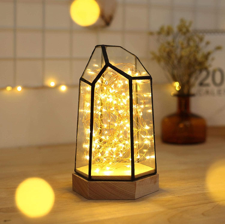 USB-Nachtlicht,Feuerbaum Silber Blaume Polygon Dimmbar Stein Schlafzimmer Umgebungs Geschenk Licht