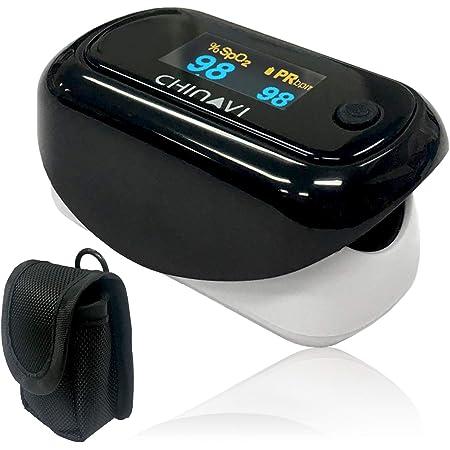 ちゃいなび パルスオキシメーター 酸素濃度計 神奈川県健康医療局採用 医療機器認証 暗い場所でも見やすい ブラック MD300CN350